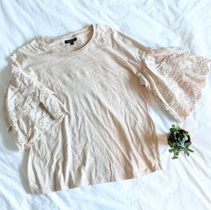 Topshop Fancy Lace Sleeve Top
